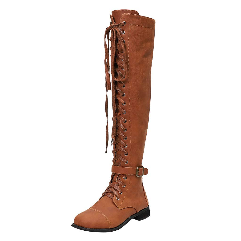 Lataw Women Boots Ladies Retro Western Combat Riding Style Low Heel Shoes Lace Up Long Tube Knee High Knight Boots Wide Calf by Lataw