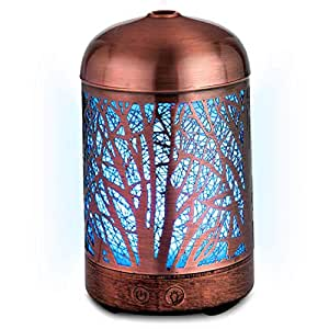 Bushberry Mist Copper Handcrafted Aromatherapy Cool Mist Ultrasonic Diffuser Humidifier; Metal cage with Color Changing LED lights - Decorative Scent Vaporizer Night Lamp for Office; Home, Nursery.