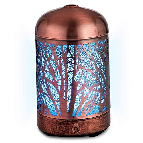 Bushberry Mist Copper Handcrafted Aromatherapy Cool Mist Ultrasonic Diffuser Humidifier; Metal cage with Color Changing LED Lights - Scent Vaporizer Night Lamp for Any Room, waterless Auto Shut Off. ()