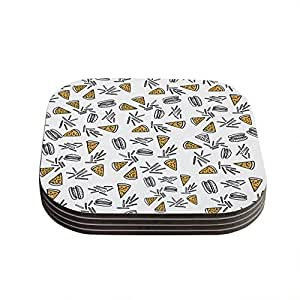 """Kess InHouse Vasare Nar """"Burgers & Pizza"""" Food Coasters, 4 by 4-Inch, Set of 4"""
