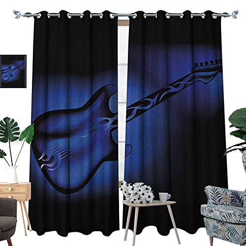 Top Golden Oldies - Warm Family Music Waterproof Window Curtain Electric Guitar Bass in Dark Tones Rock and Roll Pop Themed Oldies Instrument Design Blackout Draperies for Bedroom W108 x L96 Purple Blue