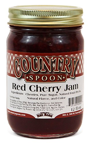 Country Spoon Red Cherry Jam - 12 Ounces (And Tart Cherry Almond)