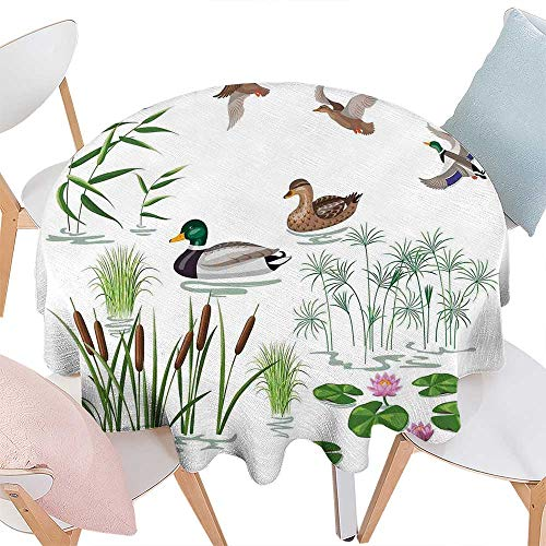 (cobeDecor Rubber Duck Printed Round Tablecloth Lake Animals and Plants with Lily Flowers Reeds Cane in The Pond Nature Park Flannel Round Tablecloth D70 White Green)