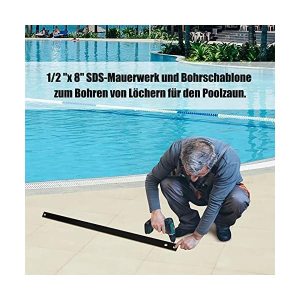 51caj1XwWWS COSTWAY Poolzaun kindersicher, Schutzzaun Poolschutzaun für Schwimmbad Garten, Kinderschutzzaun Pool Komplettset…