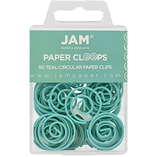 Spiral Paper Clip - JAM PAPER Circular Paper Clips - Round Paperclips - Teal - 50/Pack