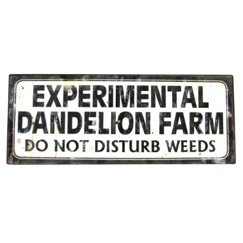 IVIVV Metal Garden Sign - Warning Experimental Dandelion Farm: Do Not Disturb Weeds