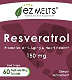 EZ Melts Resveratrol 150 mg Dissolvable Vitamins Vegan Zero Sugar Natural Grape Flavor 60 Fast Melting Tablets Trans-Resveratrol Supplement Discount
