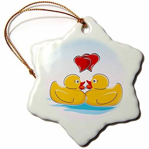 3dRose orn_125046_1 Two Cute Yellow Rubber Ducks with Two Red Hearts Snowflake Porcelain Ornament, 3-Inch