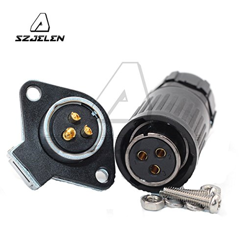 SZJELEN Panel Mount 21mm 3Pin Power Industrial Cable Connector,Waterproof Aviation Connector IP67,Fit RV Solar Port,LED Light Equipment(3Pin, Plug(Female)&Socket(Male))