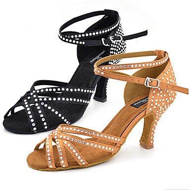 XIAMUO Strass anpassbar - Die Frauen tanzen Schuhe Kunstleder Latin Jazz Swing Schuhe Sandalen Ballroom Tango Salsa Samba tanzen Schuhe, Khaki, US 8 / EU 39/UK6/CN 39