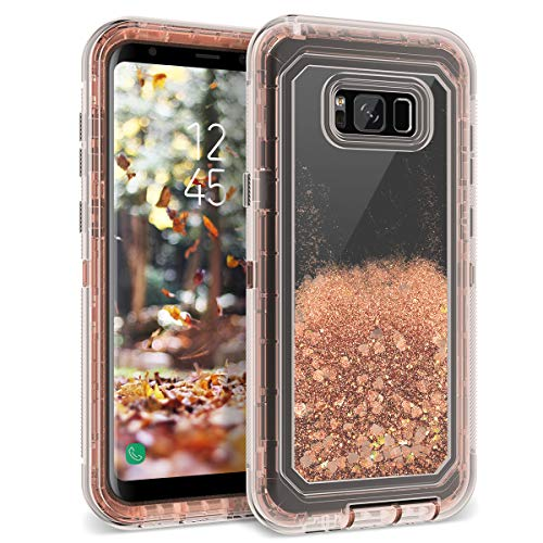 Galaxy S8 Plus Case, Dexnor Glitter 3D Bling Sparkle Flowing Liquid Quicksand Case Transparent 3 in 1 Shockproof TPU Silicone + PC Protective Defender Cover for Samsung Galaxy S8 Plus - Light Brown