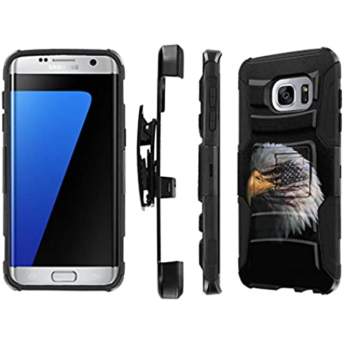 S7 Edge / GS7 Edge [5.5 Screen] Case, [NakedShield] [Black/Black] Heavy Duty Holster Armor Tough Case - [American Eagle] for Samsung Galaxy S7 Edge / GS7 Sales
