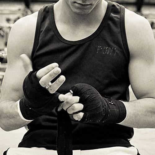 Negro Wenjie Anchura 5 cm Longitud 2.5 M Algod/ón Correa Deportiva Sanda Muay Hand Wraps Profesional Thai MMA Taekwondo Boxing Bandage