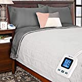 Simple Comfort Electric Heated Flannel Fleece Blanket with Sensor-Safe Overheat Technology – New for 2018 HIGH TEC Digital Controller (Grey, Twin w/Single Controller)