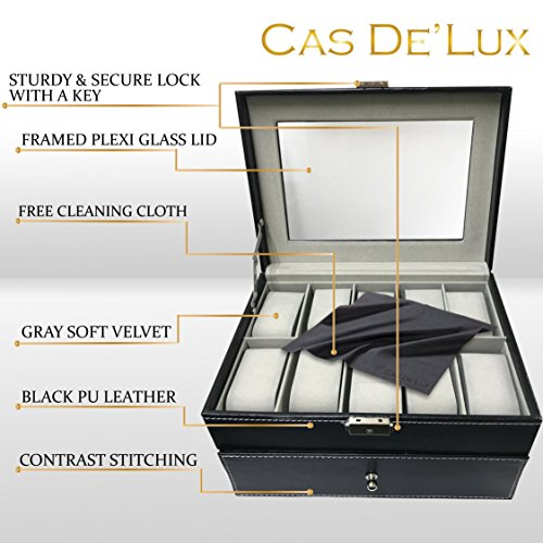 Watch Box Organizer Pillow Case - 20 Slot Luxury Premium Display Cases With Framed Glass Lid Elegant Contrast Stitching Sturdy & Secure Lock for Men and Women Watch & Jewelry Large Holder Boxes Gift by Cas De' Lux (Image #2)