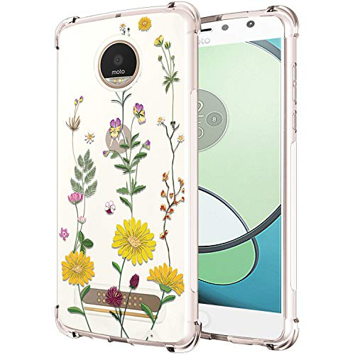 RXKEJI Moto Z2 Play Case Clear Slim Shockproof Flower Floral Design Soft Flexible TPU Silicone Back Cover Phone Case for Moto Z2 Play - Daisy White