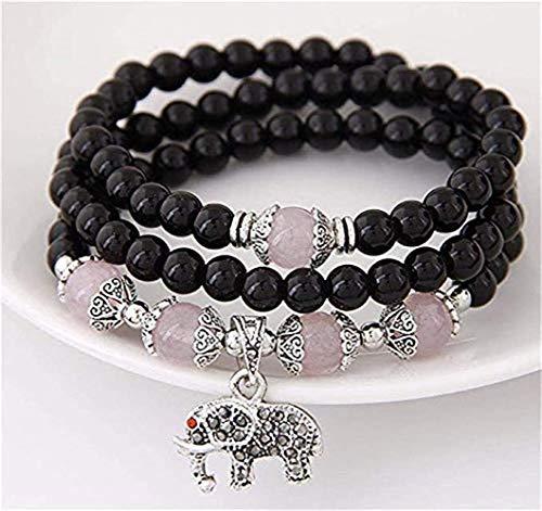 6-8mm Green Agate Stone Beads Bracelet Elastic Stretch Healing Birthstone Beaded Bangle Jewelry (Black Elephant)