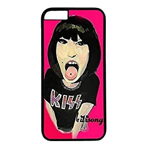 Hard Back Cover Case for iphone 6 Plus,Cool Fashion Black PC Shell Skin for iphone 6 Plus with Outstretched Tongue Women