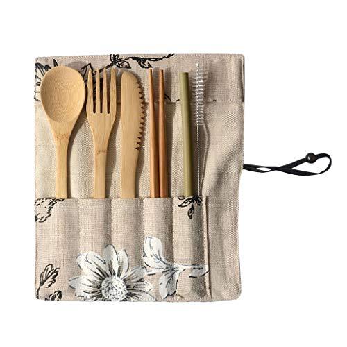 MIS1950s Portable Reusable Bamboo Cutlery Home Travel