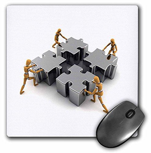 3dRose LLC 8 x 8 x 0.25 Inches Mouse Pad, Wooden Mannequins Pushing Puzzle Piece Pieces together Team Work Teamwork Success Winner Business (mp_155102_1) (Piece Puzzle Teamwork)
