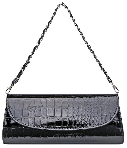ILISHOP On Sale Women's Envelope Clutch Patent Croc Skin Party Clutch Fashion Shoulder Bags For Lady (Black)