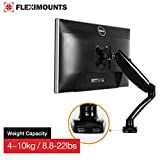 FLEXIMOUNTS M3H Heavy duty LCD Stand Full Motion Desk Mount for 10''-27'' Samsung/LG/HP/AOC/Dell/Asus/Acer LCD Computer Monitor ,8.8-22 lbs Weight-bearing with Swivel Gas Spring arm and USB cables,Fit Sit-Stand Desktop Workstation Stand by FLEXIMOUNTS