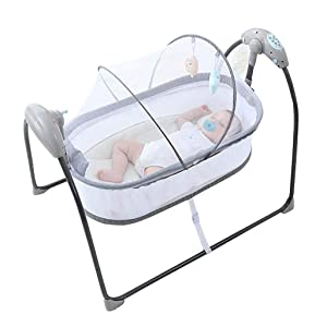 Rocking Chair Baby Electric Auto-Swing Bed,Infant Toddler Sleeping Rocker Cot Cradle Space Safe Crib Children Music Cradle Swing