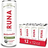 RUNA ZERO Organic Clean Energy Drink from the Guayusa Leaf, Watermelon, Calorie Free & Sugar Free, 12 Ounce (Pack of 12)