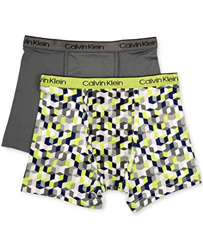 Calvin Klein Lightweight Briefs - Calvin Klein Big Boys' Performance 2 Pack Boxer Brief, Green Geo Print/Castlerock, L(12/14)
