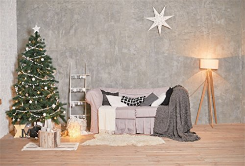 CSFOTO 6x4ft Background for Merry Christmas Decorated Christmas Tree Photography Backdrop Rustic Christmas Ornament Family Santa Winter Living Room Holiday Photo Studio Props Polyester -