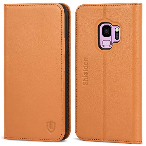 SHIELDON Galaxy S9 Case, Genuine Leather Galaxy S9 Folio Cover [Wallet Case] [Stand Feature] Flip Protective Case with Card Slot + Side Pocket Magnetic Closure Compatible with Galaxy S9 - Brown