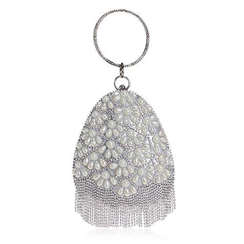 nes Beaded Drops Shape Evening Handbag Party Tassel Clutch Purse Bag Silver ()