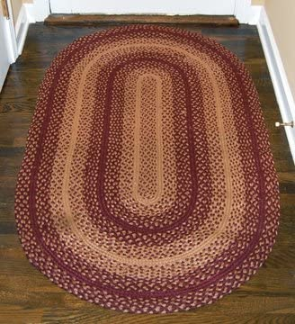 Bcd Burgundy Red Tan Braided Jute Oval Rug Country Primitive Home Decor Amazon Sg Home