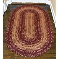 BCD Burgundy Red Tan Braided Jute Oval Rug Country Primitive Home Décor
