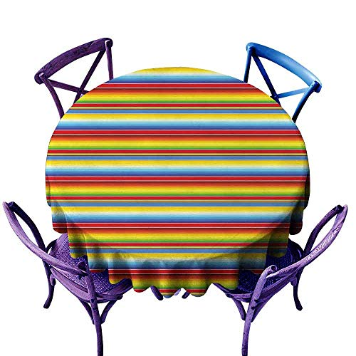 """ScottDecor Abstract Wrinkle Free Tablecloths Rainbow Colored Lines Geometrical Mexican Blanket Pattern Latin American Culture Picnic Round Tablecloth Multicolor Diameter 70"""""""