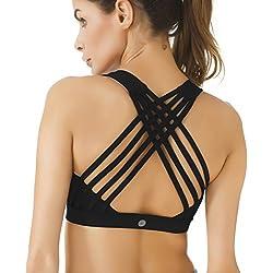 Queenie Ke Women's Medium Support Strappy Back Energy Sport Bra Cotton Feel Size L Color Black Pro