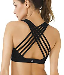 Queenie Ke Women's Medium Support Strappy Back Energy Sport Bra Cotton Feel Size Xl Color Black Pro