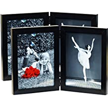 """(2-Pack) 5x7 Inch Hinged Dual Picture Wood Photo Frames with Glass Front - Displays Two 5""""x7"""" Inch Collage Pictures, Double Folding Picture Frame Stands Vertically on Desktop or Table Top"""