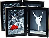 (2-Pack) 5x7 Inch Hinged Dual Picture Wood Photo Frames with Glass Front