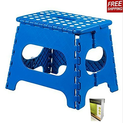 Step Stool Folding Step Stools Great For Multipurpose Uses, Finish Blue, 11 Inches Easy To Use And Store And E-Book By TSR