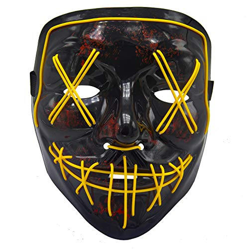 BV Led Purge Mask - Halloween Led Mask Light Up Mask for Festival Cosplay Halloween Costume Yellow