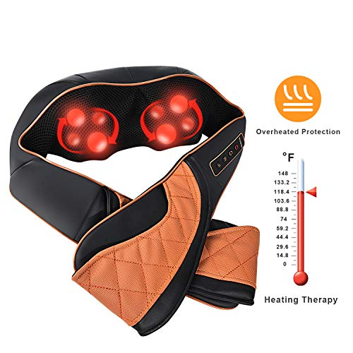 Shiatsu Neck and Shoulder Massager with Heat - Cordless Back Massage Pillow with 3D Deep Tissue Kneading - Rechargeable Design for Neck, Shoulder, Leg, Foot Muscle Pain Relief - Home and Office Use
