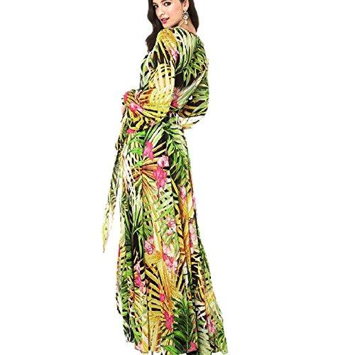 Magiyard Mujeres Verano V cuello manga larga floral impreso largo vestido de fiesta Maxi Verde