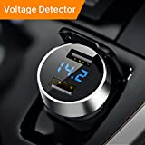 Car Charger, Ainope 4.8A Car Charger Adapter Metal Dual USB Car Charger LED Display Car Voltage Detector Flush Fit Phone X/ 8/7/ 6s/ Plus, iPad Air 2/ Mini 3, Galaxy S9/ S8/ S7 Edge - Silver