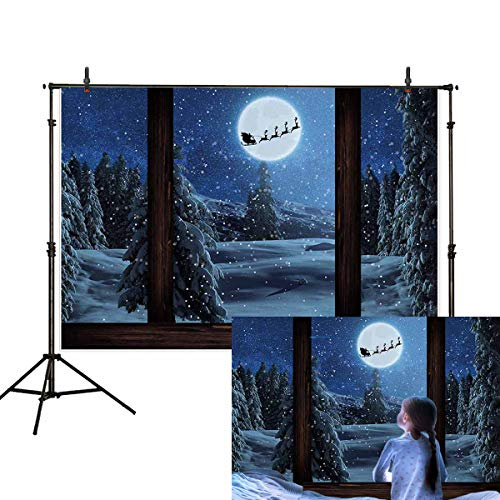 Allenjoy 7x5ft Christmas Backdrop Fairy Tale Winter Snow Scene Castle Princess windowsill Outside The Window Snowing Pine Tree Santa Claus Reindeer Moon Photography Background Decoration Photo Props