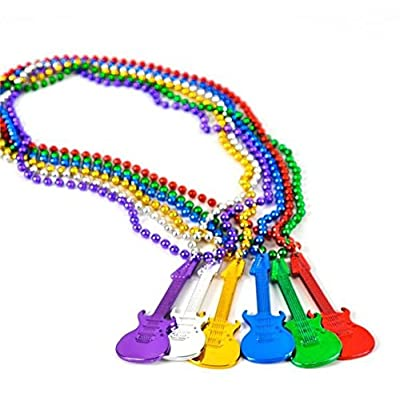 """33"""" Large Party Beads Necklaces with Super Sized Charms 1 Dozen Bulk Pack, Includes 12 Necklaces with Guitar Charms, Assorted Colors: Toys & Games"""