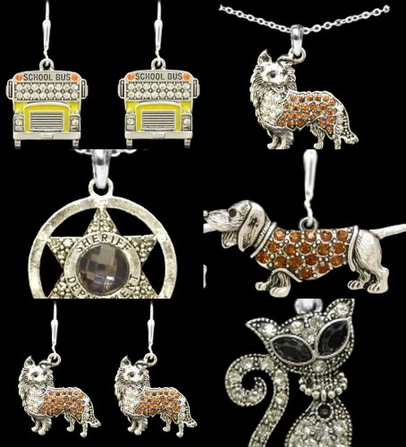 COLLIE, Pomeranian or Long Hair Chihuahua Brownish Orange Crystal Rhinestone Dog Earrings by From the Heart Enterprises (Image #1)