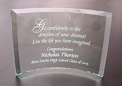 Personalized Graduation Plaque: Go Confidently Beveled Glass Crescent ()