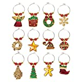 12-Pack Wine Glass Charms - Christmas Themed Wine Glass Markers, Wine Glass Tags, Drink Markers, Wine Favors, Assorted Colors