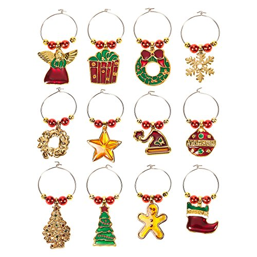 12-Pack Wine Glass Charms - Christmas Themed Wine Glass Markers, Wine Glass Tags, Drink Markers, Wine Favors, Assorted ()